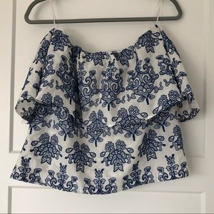 White and Blue Embroidered Off Shoulder Top